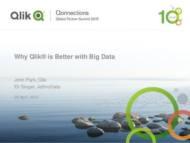 Why Qlik® is Better with Big Data John Park, Qlik Eli Singer, JethroData 28 April, 2015
