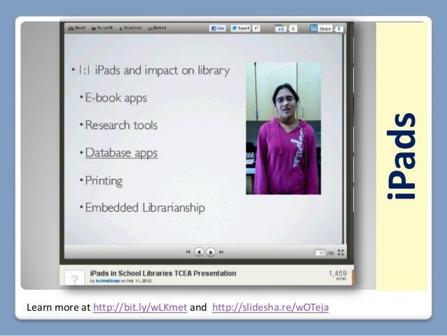 Learn more at http://bit.ly/wLKmet and http://slidesha.re/wOTejaCarolyn Foote, School Librarian