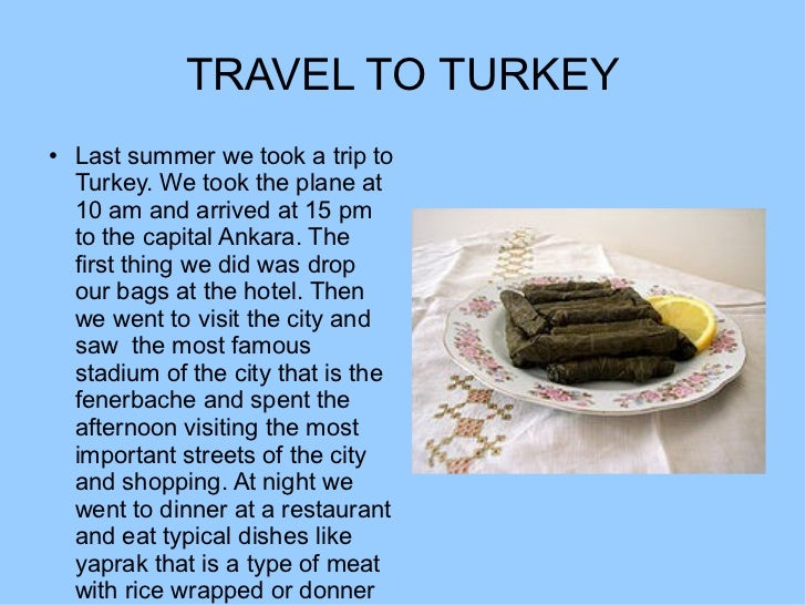 TRAVEL TO TURKEY●   Last summer we took a trip to    Turkey. We took the plane at    10 am and arrived at 15 pm    to the ...