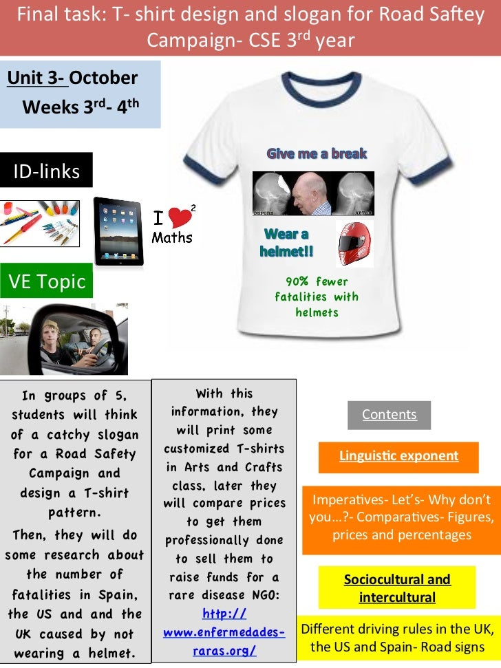 Final	  task:	  T-­‐	  shirt	  design	  and	  slogan	  for	  Road	  Sa6ey	                               Campaign-­‐	  CSE...