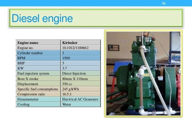 Diesel engine Engine name Kirlosker Engine no. 10.1012/1100662 Cylinder number 1 RPM 1500 BHP 5 KW 3.7 Fuel injection syst...