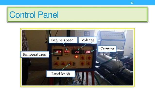 Control Panel 43 Temperatures Engine speed Voltage Current Load knob