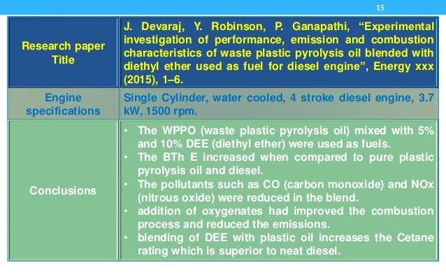 """15 Research paper Title J. Devaraj, Y. Robinson, P. Ganapathi, """"Experimental investigation of performance, emission and co..."""