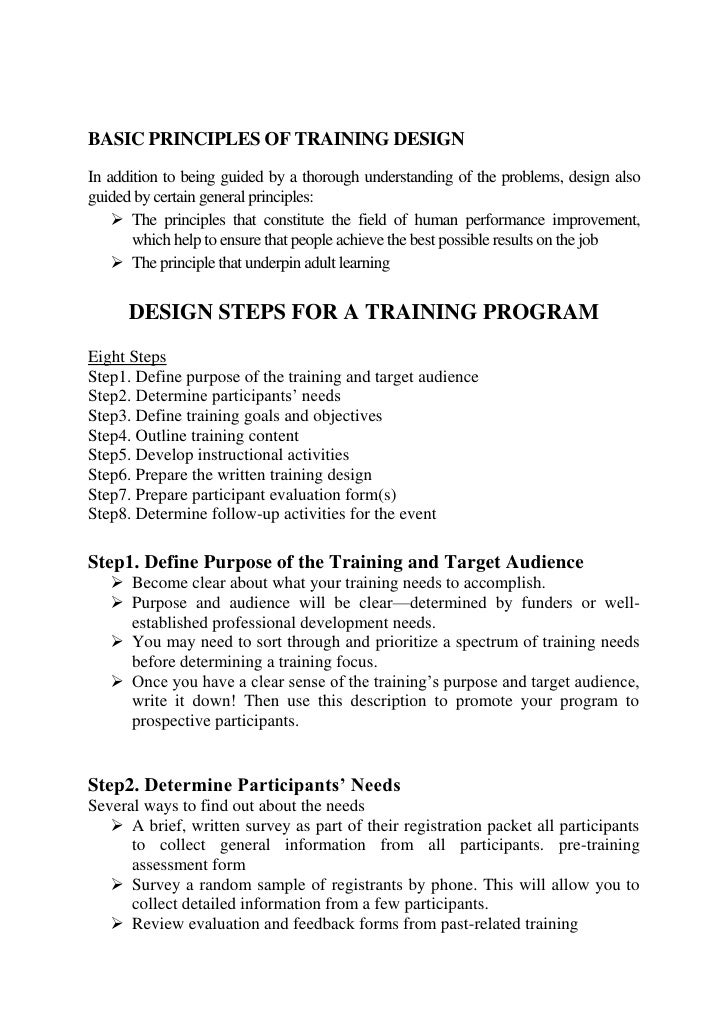 TRAINING DESIGN
