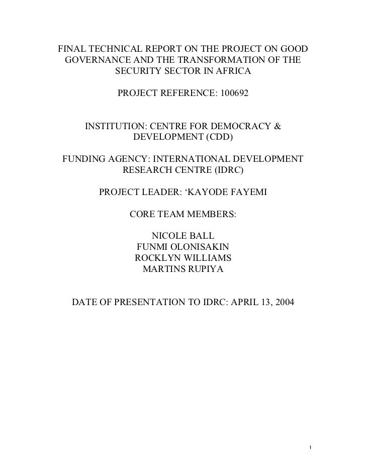 FINAL TECHNICAL REPORT ON THE PROJECT ON GOOD GOVERNANCE AND THE TRANSFORMATION OF THE          SECURITY SECTOR IN AFRICA ...