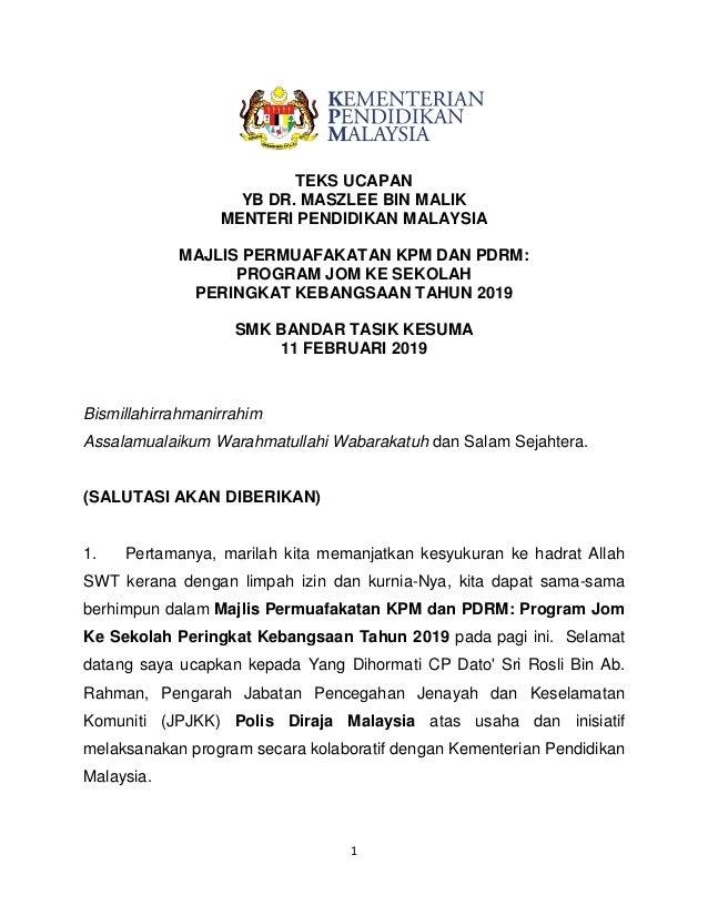 Teks Ucapan Yb Menteri Pendidikan Sempena Majlis Permuafakatan Kpm Da