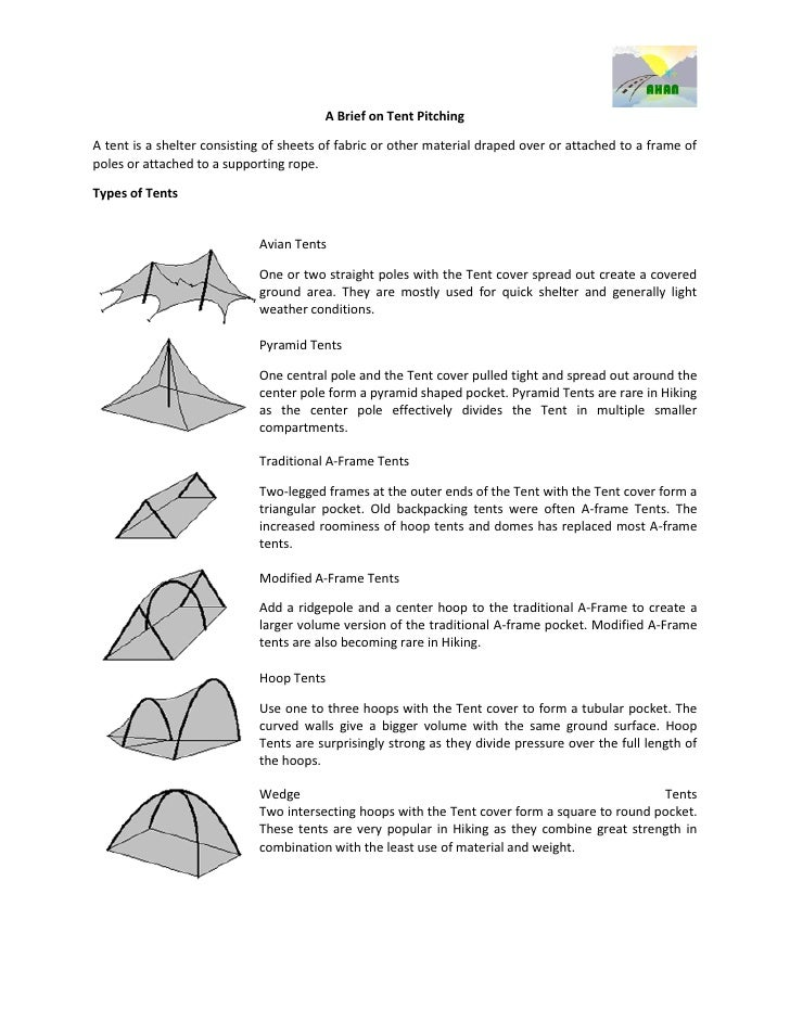 A Brief on Tent PitchingA tent is a shelter consisting of sheets of fabric or other material draped over or attached to a ...
