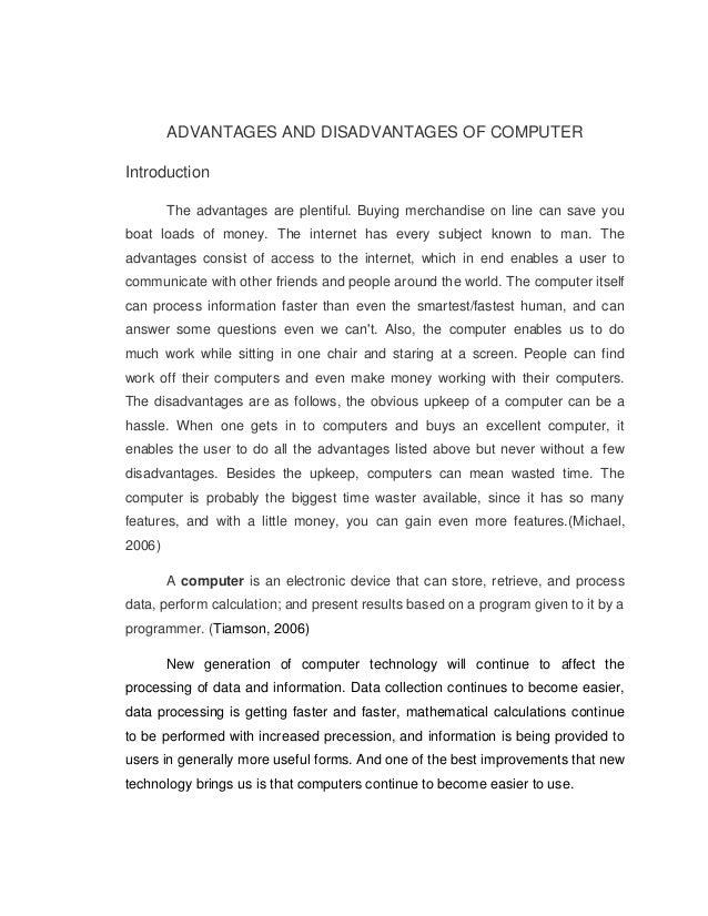 Technology Advantages And Disadvantages Essay Conclusion Help ...