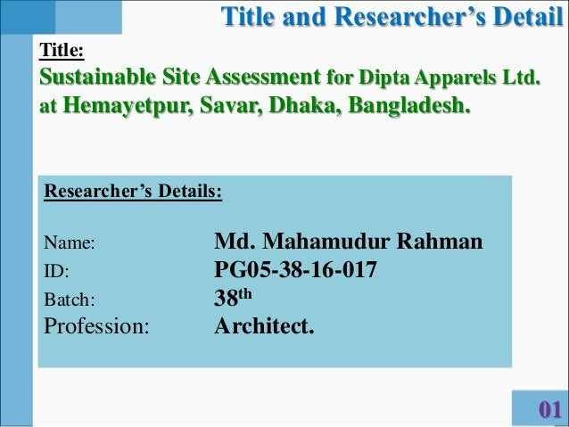 SUSTAINABLE SITE ASSESSMENT (thesis presentation) by