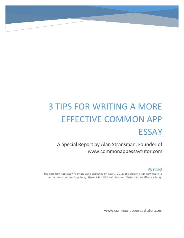 how to write a common application essay