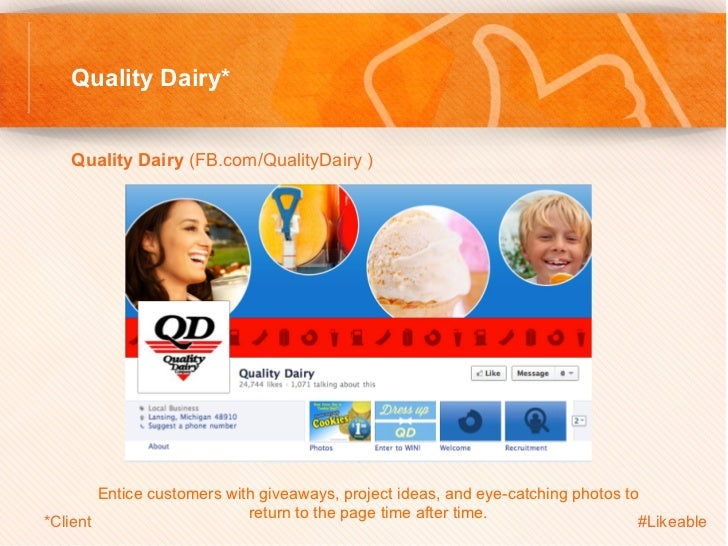 Quality Dairy*   Quality Dairy (FB.com/QualityDairy )            Entice customers with giveaways, project ideas, and eye...