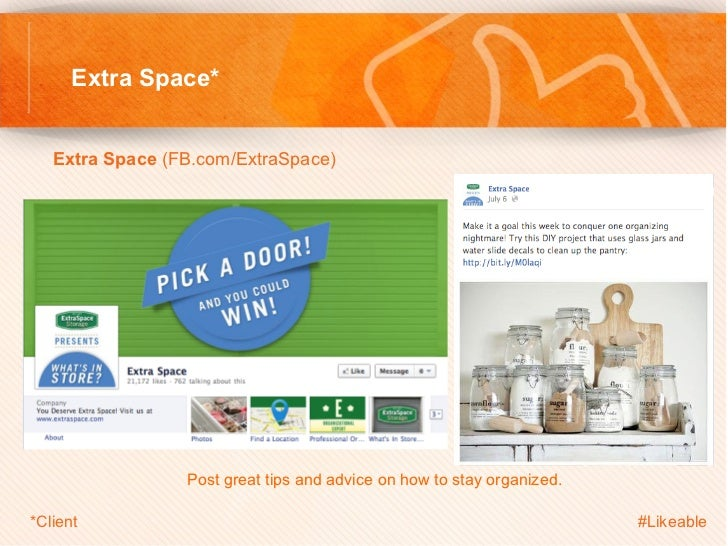 Extra Space*   Extra Space (FB.com/ExtraSpace)                           Post great tips and advice on how to stay org...