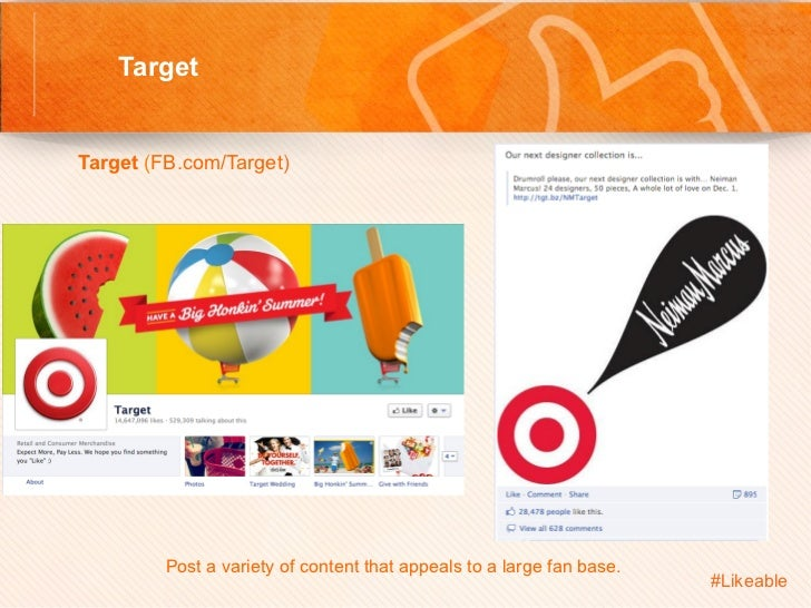 Target                                     Sh Target (FB.com/Target)            Post a variety of content that appea...