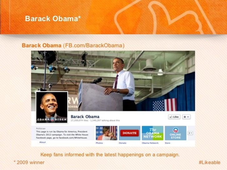 Barack Obama*                                         Sh    Barack Obama (FB.com/BarackObama)                     Ke...