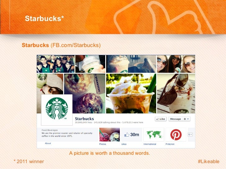 Starbucks*                                       Sh    Starbucks (FB.com/Starbucks)                               A ...