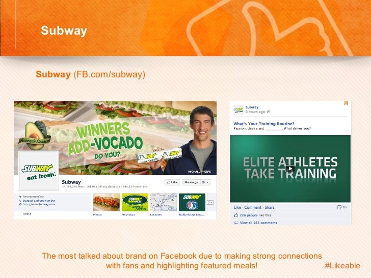 Subway                                         Sh Subway (FB.com/subway)         The most talked about brand on Face...