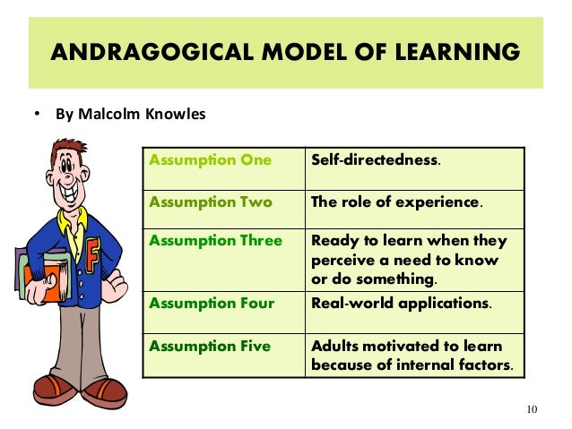 6 assumptions of the andragogical model The adult learning theory - andragogy - of malcolm knowles' 5 assumptions of adult learnersself-concept• as a personmatures his/herself conceptmoves from oneof being adependentpersonalitytoward one ofbeing a self-directed humanbeingadult learnerexperience• as a personmatures he.