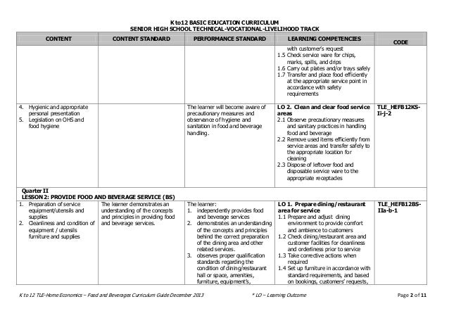 Food And Beverages Curriculum Guide Senior High School