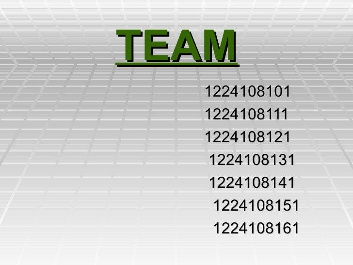 TEAM 1224108101 1224108111  1224108121  1224108131  1224108141  1224108151  1224108161