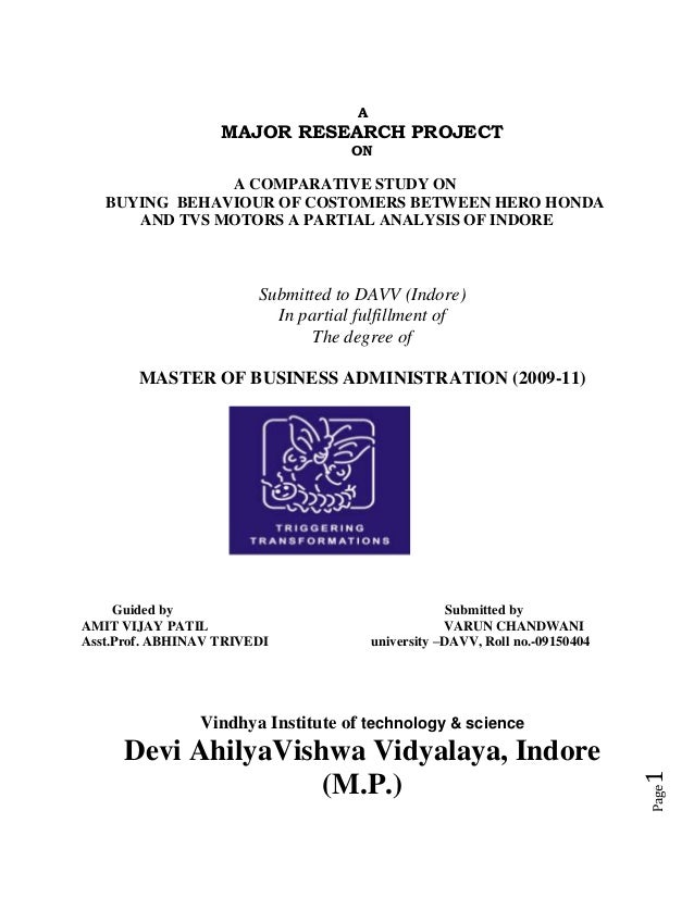 A                   MAJOR RESEARCH PROJECT                                    ON               A COMPARATIVE STUDY ON   BU...