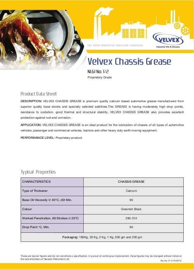Grease Catalogue Velvex - Nandan Petrochem Ltd