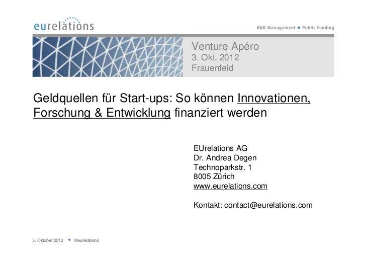 Venture Apéro                                 3. Okt. 2012                                 FrauenfeldGeldquellen für Start...