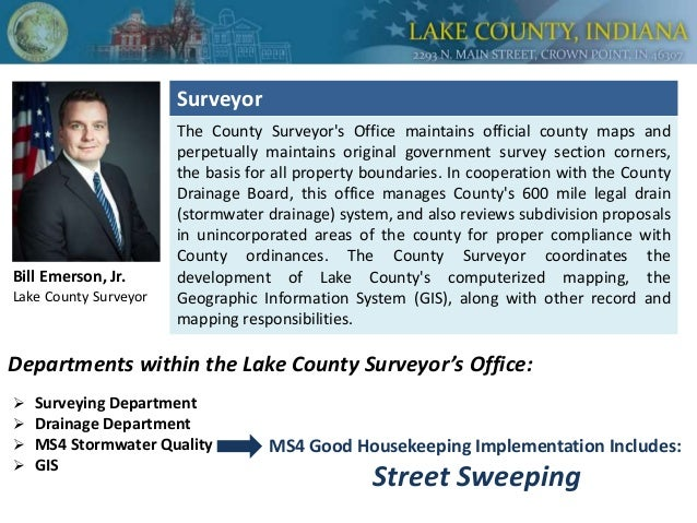 The County Surveyor's Office maintains official county maps and perpetually maintains original government survey section c...