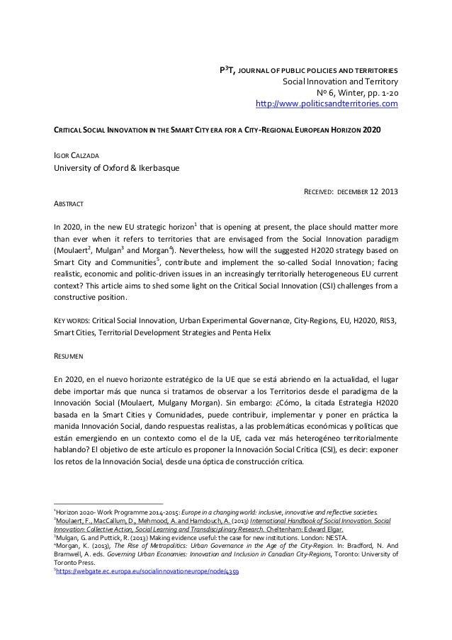 P3T,JOURNALOFPUBLICPOLICIESANDTERRITORIES SocialInnovationandTerritory Nº6,Winter,pp.1‐20 http://www.polit...