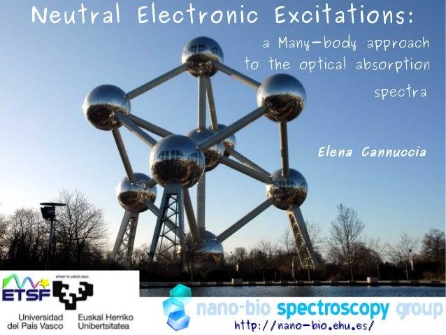 Elena Cannuccia http://nano-bio.ehu.es/http://nano-bio.ehu.es/ Neutral Electronic Excitations: a Many-body approach to the...