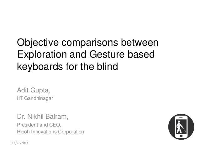 Objective comparisons between Exploration and Gesture based keyboards for the blind Adit Gupta, IIT Gandhinagar  Dr. Nikhi...