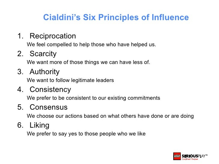 the four of the weapons of influence in influences by robert cialdini Principles of persuasion since first describing the 6 principles of persuasion in his classic book influence , dr robert cialdini has expanded his work on persuasion in other books, keynote addresses, and principles of persuasion (pop) workshops.