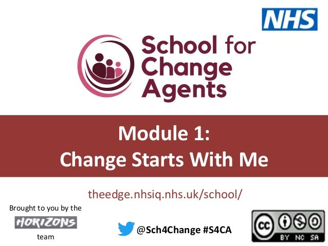 #S4CA @sch4change theedge.nhsiq.nhs.uk/school/ Module 1: Change Starts With Me @Sch4Change #S4CA team Brought to you by the
