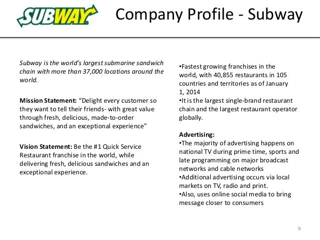 subway marketing objectives The sandwich chain has more than 40,000 locations, compared with mcdonald's 35,000 and while mcdonald's is struggling with lagging sales, subway is plotting an ambitious expansion to 100,000.