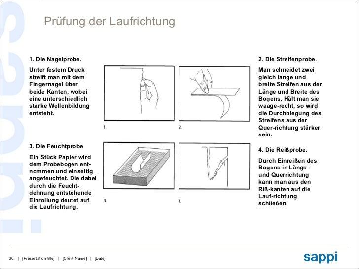 Prüfung der Laufrichtung 1. Die Nagelprobe. Unter festem Druck streift man mit dem Fingernagel über beide Kanten, wobei ei...
