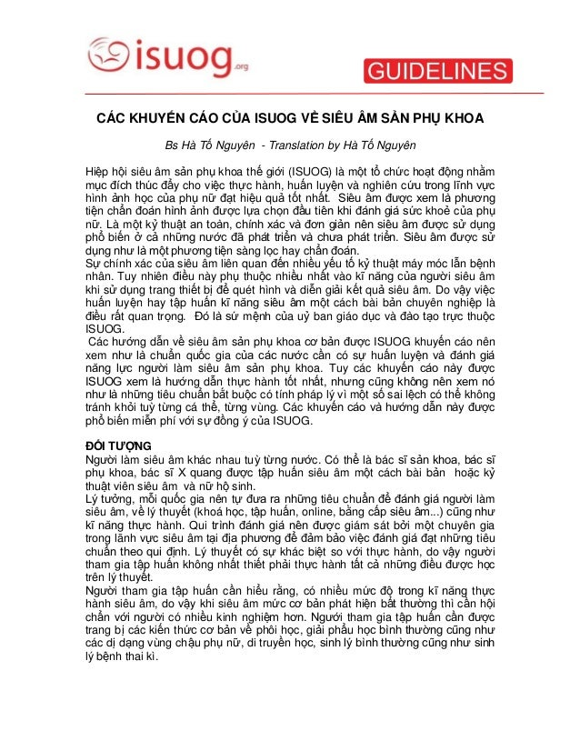 CÁC KHUYẾN CÁO CỦA ISUOG VỀ SIÊU ÂM SẢN PHỤ KHOA Bs Hà Tố Nguyên - Translation by Hà Tố Nguyên Hiệp hội siêu âm sản phụ kh...