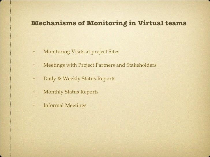 Mechanisms of Monitoring in Virtual teams <ul><li>Monitoring Visits at project Sites </li></ul><ul><li>Meetings with Proje...