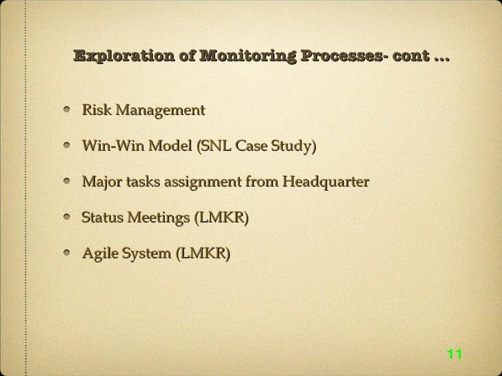 Exploration of Monitoring Processes- cont ... <ul><li>Risk Management </li></ul><ul><li>Win-Win Model (SNL Case Study) </l...