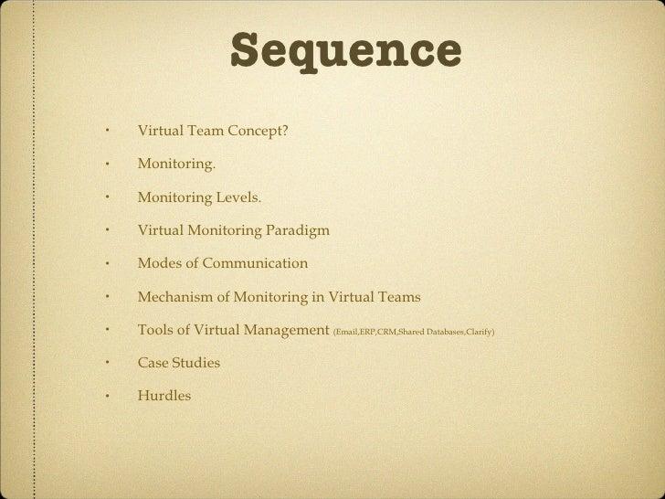 Sequence <ul><li>Virtual Team Concept? </li></ul><ul><li>Monitoring. </li></ul><ul><li>Monitoring Levels. </li></ul><ul><l...