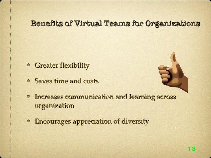 Benefits of Virtual Teams for Organizations <ul><li>Greater flexibility  </li></ul><ul><li>Saves time and costs </li></ul>...