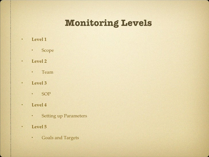 Monitoring Levels <ul><li>Level 1 </li></ul><ul><ul><li>Scope </li></ul></ul><ul><li>Level 2 </li></ul><ul><ul><li>Team </...