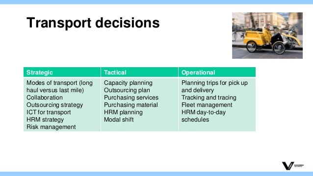 transportation decision Part 2 in our series on back to basics - managing the basic supply chain functions this article addresses the key decision levels that need to be addressed for transportation to make its greatest impact in the integrated supply chain these levels address long-term decisions, lane operations.