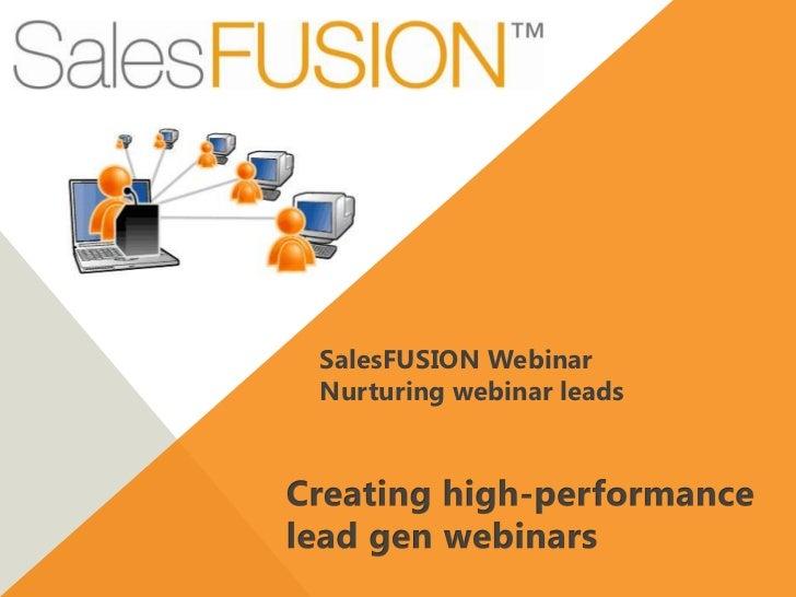SalesFUSION WebinarNurturing webinar leads