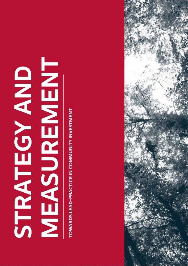 STRATEGYAND MEASUREMENT TOWARDSLEAD-PRACTICEINCOMMUNITYINVESTMENT