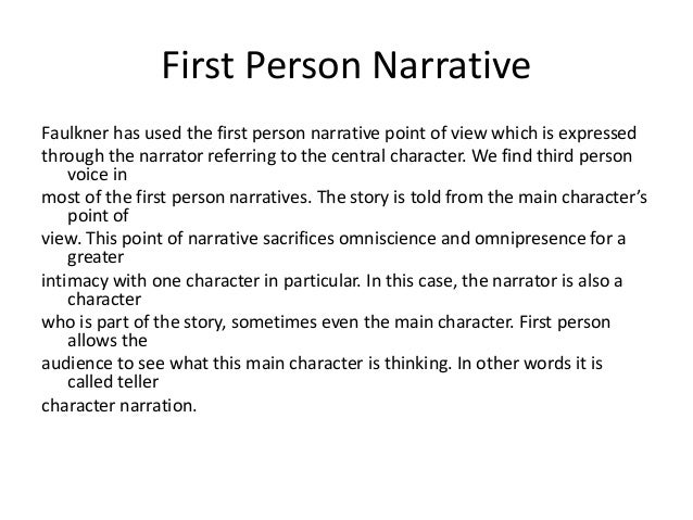 first person narrative story