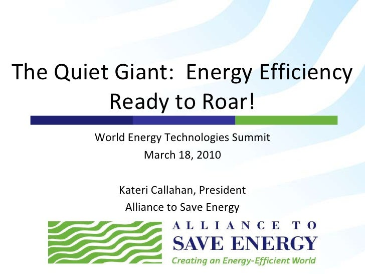 The Quiet Giant:Energy Efficiency Ready to Roar!<br />World Energy Technologies Summit<br />March 18, 2010<br />Kateri Cal...