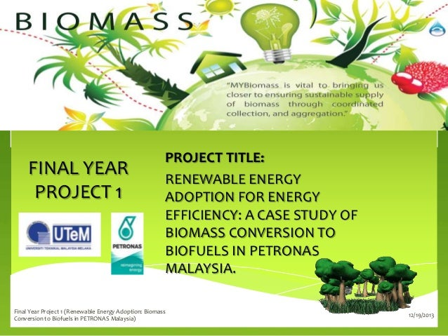 FINAL YEAR PROJECT 1  PROJECT TITLE: RENEWABLE ENERGY ADOPTION FOR ENERGY EFFICIENCY: A CASE STUDY OF BIOMASS CONVERSION T...