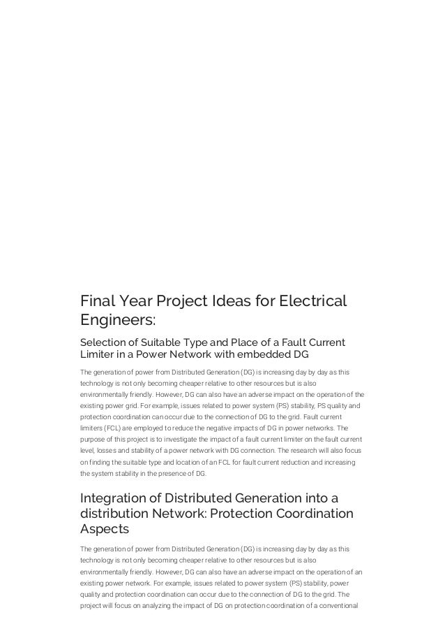 Final year project ideas for electrical engineering