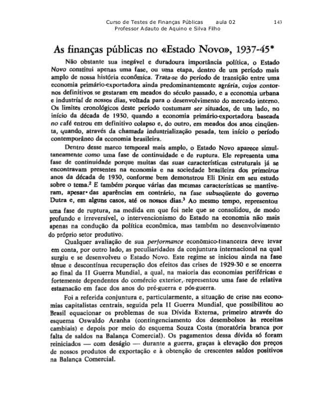 Curso de Testes de Finanças Públicas      aula 02   143   Professor Adauto de Aquino e Silva Filho