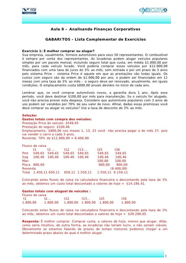 Financas gabarito complementar aula_8
