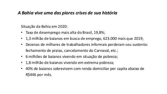 A Bahia vive uma das piores crises de sua história Situação da Bahia em 2020: • Taxa de desemprego mais alta do Brasil, 19...